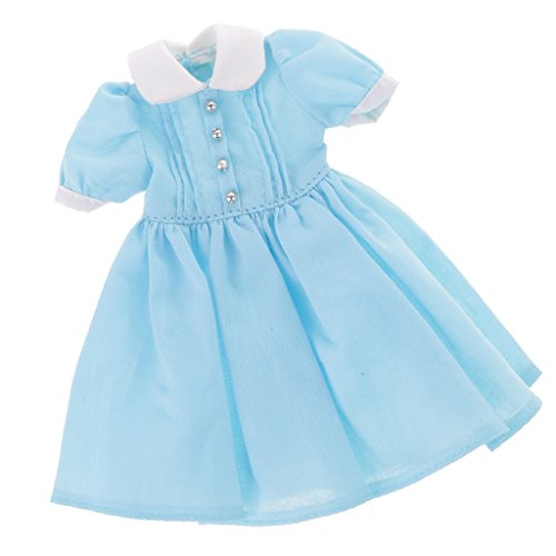 MonkeyJack 1/6 Doll Lovely Dress Skirt Clothes for 12in Blythe Pullip Azone Licca Costume Clothing Accessory Girls Pretend Play Toy Birthday Gift Blue