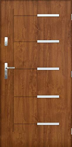 Tür Warme 1,3 Kankan Nano Advance Haustür Stahltür Eingangstür 4 Farben Größe 80,90 Golden Eiche ([90] 990 x 2065 mit einem Türrahmen Links)