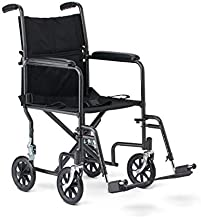 Medline Steel Transport Wheelchair, Folding Transport Chair with 8-Inch Wheels, Lightweight, Full Length Armrests and Swing Away Footrests, 19-Inch Wide Seat
