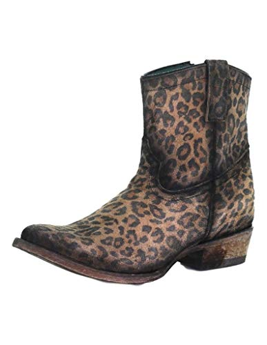 Corral Ld Leopard Print Zipper Ankle Boot Round Toe ,Size 6