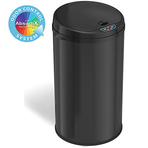 iTouchless 8 Gallon Touchless Sensor Trash Can with Odor Filter System, 30 Liter Round Black Steel Garbage Bin, Perfect for Home, Kitchen, Office