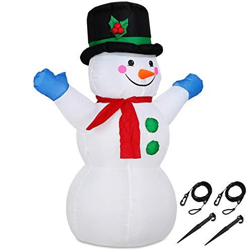 Monzana Bonhomme de neige gonflable décoratif LED avec pompe incluse Décoration lumineuse Taille XL 120cm Noël fête