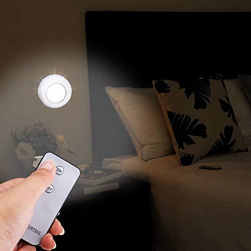 Luce Notturna della PANNOCCHIA, Luce a LED del corridoio, Telecomando Wireless 2.7In Diametro con Adesivi per corridoio Garage Cassetto Scale Toilette Frigorifero Ripostiglio