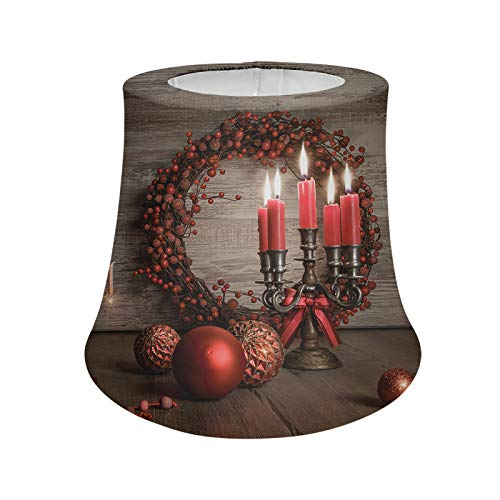 Aulaygo Christmas Candle Pattern Cloth Desk Lamp Shades for Christmas House Decor Soft Wear-Resistant Quality Room Lampshades with Holder House Decor for Dining Room Bedroom Nightstand Dresser