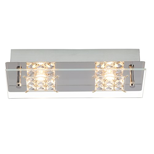 Brilliant G94265/15 Applique/plafonnier LED à 2 lumières MARTINO, 10W, metal/verre, coloris chrome/transparent, 5 W