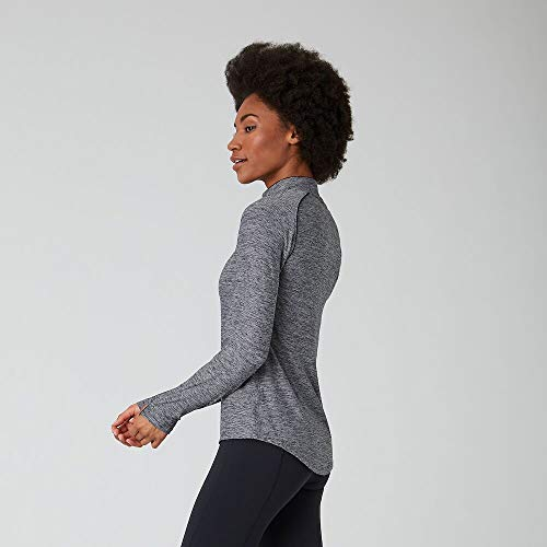 New Balance Women's Transform Half Zip, Black Heather, L
