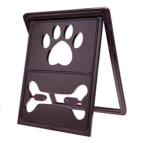 ErZhuiZi Gatera, Puerta para Mascotas para Gatos Trampilla Clásica para Gatos con Cierre de 4 Vías, Túnel Incluido, Fácil de Instalar y Duradero,Brown