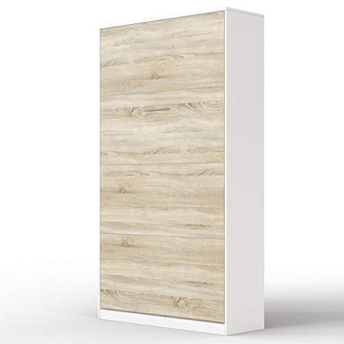 SMARTBett Letto a Scomparsa Basic Letto Ribaltabile Letto a Muro (90x200 Verticale, Bianco/Rovere Sonoma Parte Frontale)