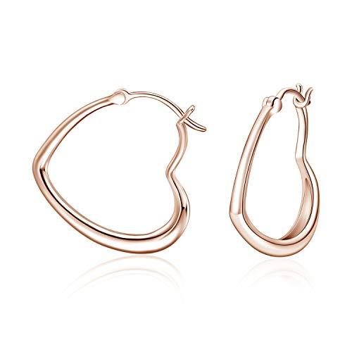 WINNICACA Rose Gold Herz Ohrringe Sterling Silber seitlich Ohr Huggie Hoop Schmuck Geschenke für Frauen