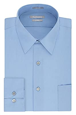 "Van Heusen Men's Dress Shirt Fitted Poplin Solid, Cameo Blue, 17.5"" Neck 34""-35"" Sleeve"