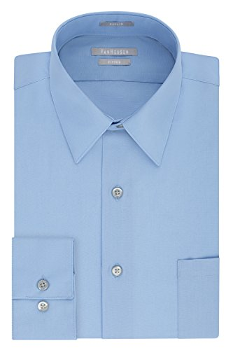 Van Heusen Men's Dress Shirt Fitted Poplin Solid, Cameo Blue, 16.5' Neck 34'-35' Sleeve