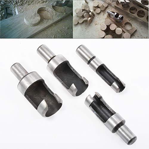 HOHXEN 4pcs Carbon Steel Wood Plug Hole Cutter Drill Bits Set 1/4