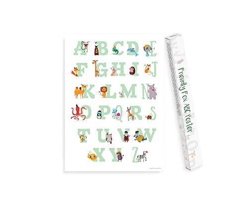 Friendly Fox - Póster XXL para niños con letras para aprender el alfabeto, versión alemana (B2)