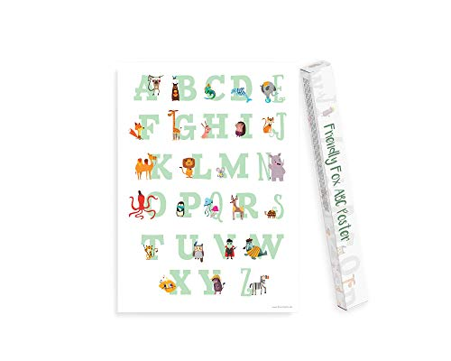 Friendly Fox ABC Poster für Kinder - Erste Buchstaben Lernen mit XXL Kinderposter - Lernposter Alphabet Bildungsposter Kindergarten Vorschule Grundschule Kinder Junge Mädchen