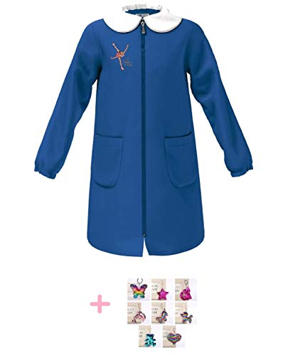 Siggi. Grembiule Scuola elementare Happy Bimba Bambina pattinatrice Colore blu con Ricamo - Cerniera centrale zip Colletto Bianco 6 7 8 9 10 11 12 13 anni (6 anni Altezza bimbo/a: 116 cm)