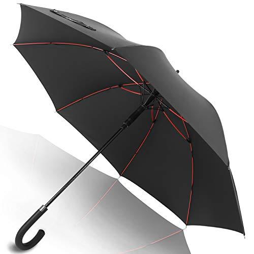 Anntrue 傘 長傘 メンズ ワンタッチ 丈夫 撥水 耐風 Teflon加工 210T高強度グラスファイバー 軽量 大型 130cm 梅雨対策 晴雨兼用 収納ポーチ付き 永久保証付き (ブラック)