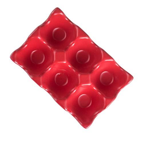 Cabilock - Portauova in ceramica, 6 tazze, vassoio per uova, frigorifero, contenitore per uova, antiscivolo, in porcellana da cucina, colore: Rosso