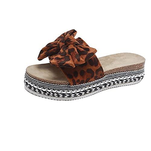 Sandalias de mujer con diseño de puntera abierta y plataforma de moda para mujer, Color leopardo., 38 EU