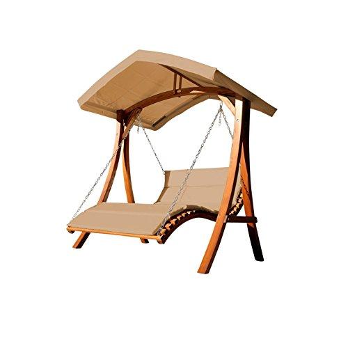 Design Hollywoodliege Doppelliege 'Aruba' aus Holz Lärche mit Dach von AS-S, Farbe:Braun