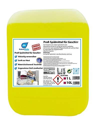 KaiserRein Spülmittel für Geschirr 10 L (10 Liter) Kanister unser Profi Geschirrspülmittel flüssig Konzentrat extrem ergiebig hautmild & mikroplastikfrei