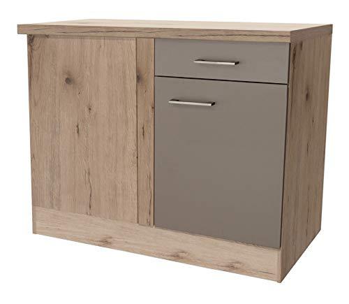 Smart Möbel Eck-Unterschrank ohne Arbeitsplatte 110 x 60 cm Quarz-Cubanit/San Remo Eiche hell - Rodello