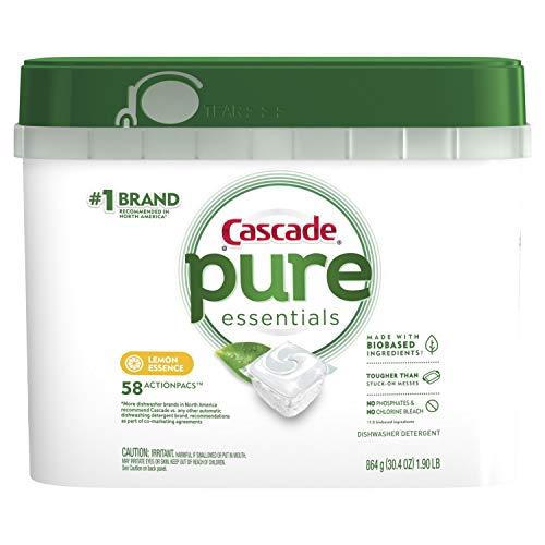 Cascade Pure Essentials ActionPacs, Dishwashing Detergent Pods, Lemon Essence, 58 Count