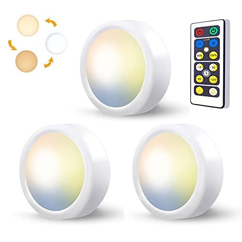 LED Spots Batteriebetrieben mit Fernbedienung, 3 Stück 3 Farbtemperatur LED Spot Batterie Vitrinenbeleuchtung Kabellos Schrankbeleuchtung Dimmbar Unterbauleuchte Küche Akku LED Touch Lampe Zum Kleben