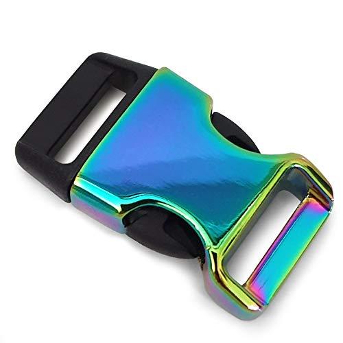 Ganzoo - Cierre de clip de metal y plástico, 8 unidades, 3/4'/cierre de clip/cierre para pulseras de paracord, collares de perros, mochila, color: arco iris/negro