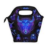 Círculo del horóscopo de neón de Tauro con signos del zodiaco Bolsa de compras reutilizable bolsa de supermercado de poliéster Ripstop o bolsa de almuerzo