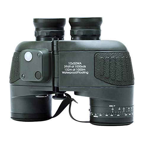 LARDOO Militar 10x50 HD Binoculares Marinos Zoom Telémetro Brújula Telescopio Ocular Impermeable Nitrógeno Ejército Verde USCAMEL