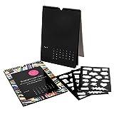 ewtshop® Kalender DIY Set, 2 Schwarze Jahreskalender, immerwährendes Kalendarium, DIN A4, Spiralbindung Oben