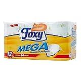 FOXY CARTA IGIENICA MEGA 2 VELI 12 MAXIROTOLI - CARTONE DA 3 CONFEZIONI DA 12 ROTOLI = TOTALE 36 MAXIROTOLI
