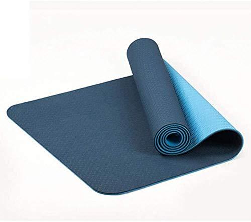 JD Bug Yoga mat Tweekleurige antislip Tpe Sport gymmat Thuis fitness Donkerblauw tapijt