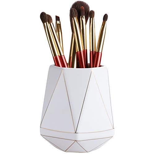 Gimane Pencil Holder for Desk Organizer,Special Polyhedron Golden Pattern Ceramic Pen Holder [Pen...