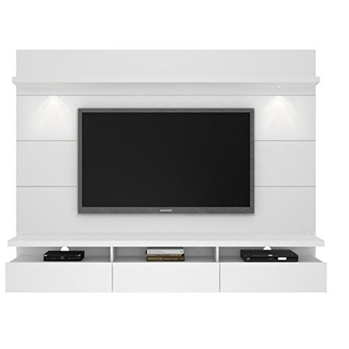 Manhattan Comfort Cabrini 2.2 Floating Wall Theater Entertainment Center in White Gloss