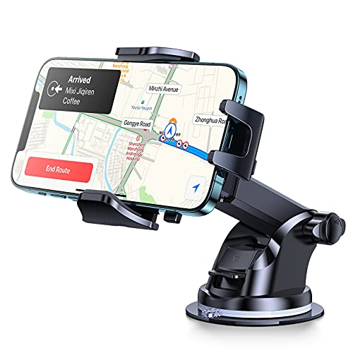 Andobil Car Phone Holder Easy Clamp, [Anti Shake] [Strong Suction] Universal Dashboard Air Vent Windshield Hands-Free Suction Cup Cell Phone Mount Compatible with All Mobile Phones