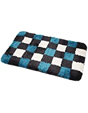 Pluizig zachte microfiber hoogpolige badmat badmat douchemat badmat badmat mat mat tapijt voor badkamer badkamer douche sauna antislip 60 x 100 cm geruit