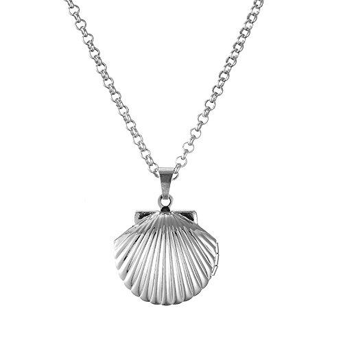 Ouran Collar de medallón para mujer, collar con colgante de concha de mar para niñas, collar de cadena larga ajustable plateado