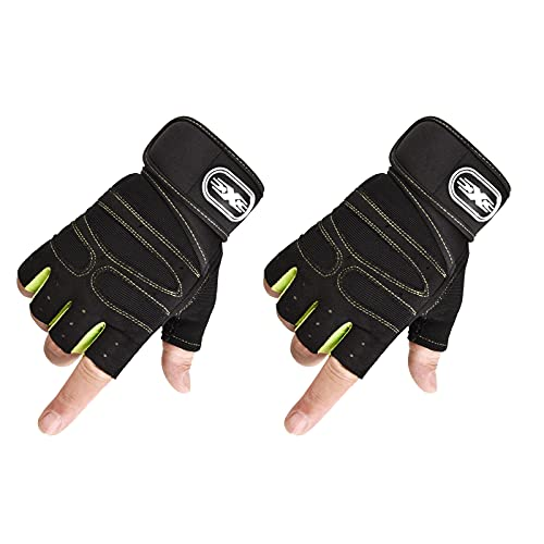 Guantes de entrenamiento para hombres y mujeres medio dedo para ejercicio levantamiento de pesas Fitness gimnasio entrenamiento deportivo antideslizante (verde claro M)