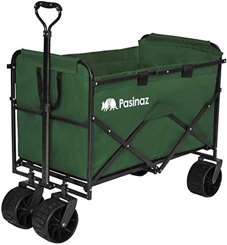 Pasinaz(パシナズ) キャリーカート折り畳み おりたたみ 買い物 軽量 4輪 頑丈 耐荷重 250キログラム 大容量 187L 大型 タイヤ アウトドアキャリー キャリーカート タープテント テント チェア 持ち運び可能 台車 運搬 アウトドア 段階