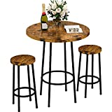 """Super Sturdy & Stable Construction - 3 Piece Pub Dining Set: This 23"""" round pub table set is made of premium MDF and sturdy metal frame, which is corrosion-resistant and durable for a long lifespan. The bar table made of thick board and thick metal w..."""