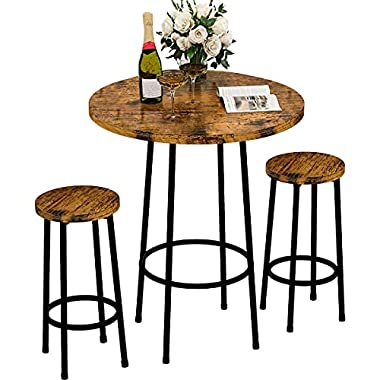 Recaceik 3 Piece Pub Dining Set, Modern Round bar Table and Stools for 2 Kitchen Counter Height Wood Top Bistro Easy…