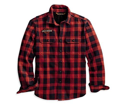 Harley-Davidson Men's Sherpa Lined Shirt Jacket (Red/Black, XL)