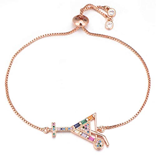 LKITYGF Exquisite Beach Jewelry Drink Cup Charm Bracelet For Women Girl Fashion Copper Cubic Zirconia Crystal Bracelet Gift (Color : Rose Gold)