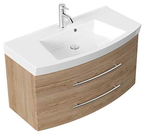 Mueble de baño Bella 100 con panel frontal redondeado Roble claro