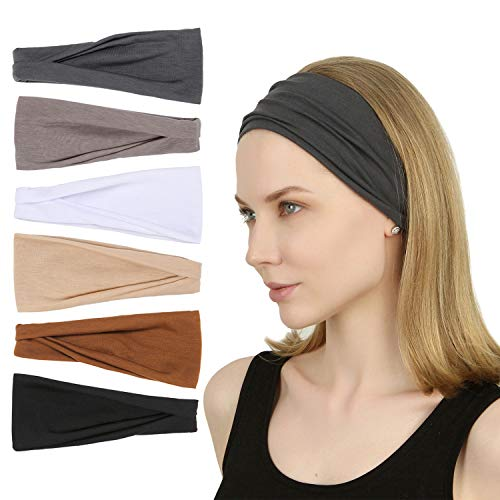 Sea Team 6Pack Sports Workout Headbands Soft Elastic Yoga Running Fitness Hairbands for Women