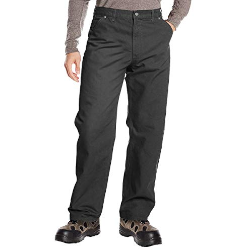 DuraDrive 34W x 34L Dark Grey Men's Loose Fit Garment Washed Duck Canvas Work Dungaree Carpenter Pants