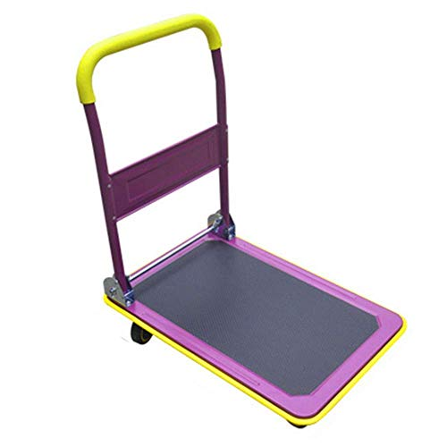 dfff Household Folding Trolley, Warehouse Trolley, Luggage Carrier, Purple, Large