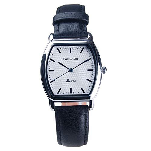 TWCAM Acero Cuero Pulsera Hombre- Reloj De Correa para Hombre, Reloj De Esfera Pequeña, Reloj Cuadrado para Mujer, Reloj De Cuarzo para Hombre, Negro, Plata, Blanco, Hombre