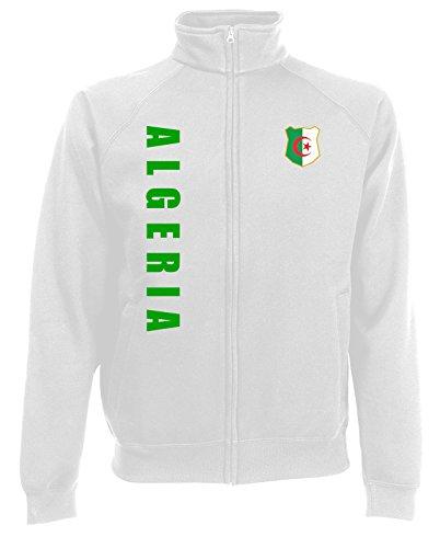 AkyTEX Algerien Algeria Sweatjacke Jacke Trikot Wunschname Wunschnummer (Weiß, XL)